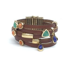 Jewelry - Brown Leather Bracelet With Gold and Multi Stones